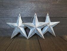 "Lot of 3 Galvanized Primitive Rusty Metal Stars 6"" Country Tin Barn"