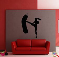 Wall Stickers Vinyl Decal Girl Kicks Punch Bag Box Boxing Fitness Sport  (z1802)