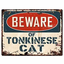 Pp1563 Beware of Tonkinese Cat Plate Rustic Chic Sign Home Room Store Decor Gift