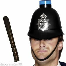 Blue Light Flashing Policemans Police Helmet Hat & Truncheon Fancy Dress Costume