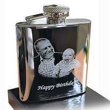 Photo Engraved St. Steel HIP FLASK for Christmas, Best Man, Father's day gift