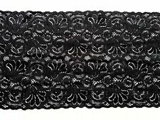 Design BLACK 15cm Wide Stretch Floral Lace Trimming 6' Lingerie Costume Sewing A