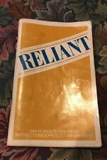 1984 PLYMOUTH RELIANT FACTORY OWNERS MANUAL