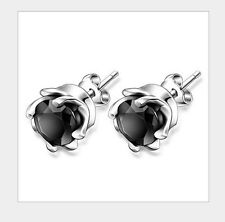 Sterling silver Women Men LAB DIAMOND Whirl Obsidian Onyx Rose Stud Earrings S4
