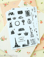 Retro Stamp Stickers diary craft scrapbooking paris eiffel travel mail postmark