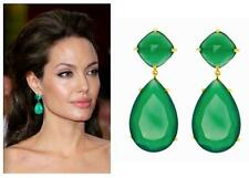 19 TCW 18k Gold Sterling Silver Green Emerald Pear Cushion Cut Dangle Earrings