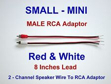 2 Channel Speaker Wire RCA Adapter Amp Receiver Powered Speakers MALE Mini R-W