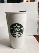 New Starbucks 12 Oz Coffee Travel Mug Wall Ceramic With Plastic Cup Lid Tumbler