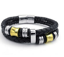 Cool Gift Genuine Leather With Stainless Steel Mens Chain Bracelet Bangle 8inch