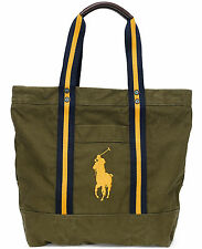 new Polo Ralph Lauren cotton canvas tote bag Big Pony logo olive mens, MSRP $125