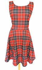 RED TARTAN SKATER DRESS Sleeveless PLAID Check LOLITA Celebrity PUNK ROCK 14