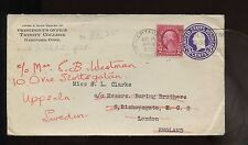 1935 US TransAtlantic Cover Trinity College, Hartford, Conn to London rerouted