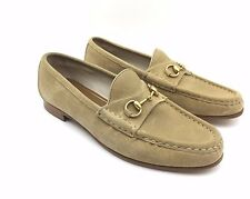 $1650 GUCCI Mens BEIGE LEATHER LOAFERS SLIP ONS ITALY HORSEBIT DRESS GG SHOES 8