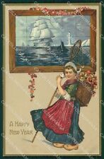 Dutch Girl Happy New Year Greetings Clapsaddle ? Relief postcard QT5896