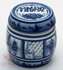 Gzhel Porcelain Caviar Barrel pot jar container hand-painted in blue