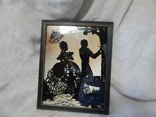 """Vintage Reverse Painted Silhouette Picture with Glitter Background 9"""" x 7"""""""