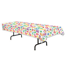 70th Celebration Plastic Tablecover - 137 x 274cm - Birthday Party Decoration