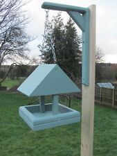 Hanging Bird Table Feeder c/w Roof Hand Made UK. Solid Timber Choice of Colour