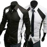 HOT Smart Men's Casual Luxury Dress Shirts Long Sleeve Tops Black/White S M L XL