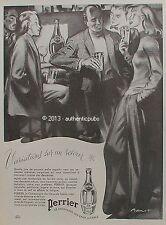 PUBLICITE PERRIER RANDONNEE SKI SLALOM BAR DESSIN SIGNE BRENOT DE 1947 FRENCH AD