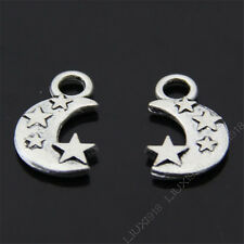 15pc Retro Star Moon Pendant Charms Dangle Beads Accessories Tibetan Silver S01T