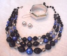VINTAGE ESTATE 3 PC LOT MONET CLIP EARRINGS TRIPLE STRAND CHUNKY NECKLACE CUFF