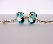 925 STERLING SILVER SINGLE CORE MURANO GLASS ANIMAL BEAD/CHARM STORK