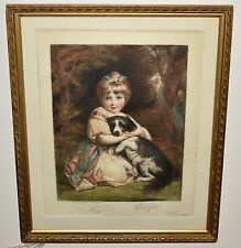"Elizabeth Gulland Listed Artist ""Seated girl and her dog"" Coloured Mezzotint"