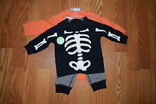 NWT CARTERS BABY Boys Halloween Skeleton Pumpkin 3 Piece Outfit 6 Months