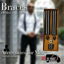 NEW ARRIVAL HEAVY DUTY MEN BRACES BLACK & WHITE LINE SUSPENDER ELASTIC 35MM WIDE