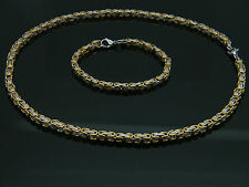 MEN'S SILVER/GOLD CHUNKY LINK CHAIN BYZANTINE STAINLESS STEEL NECKLACE SET