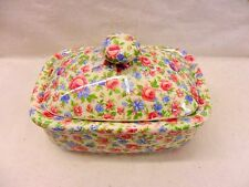 Emily chintz design butterdish by Heron Cross Pottery