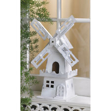 BIRDHOUSE: Distressed WHITE DUTCH WINDMILL Bird House NEW