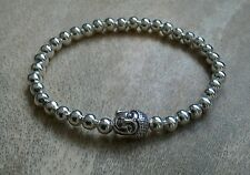 Silver Ball Beaded Bracelet Buddha Head Charm Stretch
