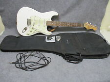 Squire By Fender Strat Electric Guitar White w/ Faux Mother Of Pearl w/ Case