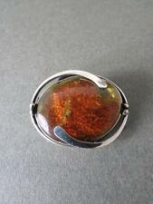 Vintage Baltic Amber Butterscotch Egg Yolk Honey Silver Brooch Art Nouveau