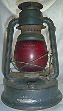 Vintage Dietz Little Giant Railroad Lantern Red Globe 70 Hour Made in USA