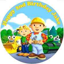 """Bob the Builder Edible personalised icing sheet cake topper 7.5"""" Round"""