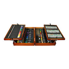 174 Piece Mixed Media Artist Wood Box Paint Set - Pencils, Pens, Chalk, Eraser