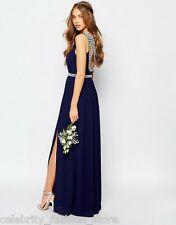 TFNC Navy Embellished Diamante Maxi Cocktail Wedding Evening Dress 6 34 New