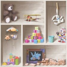 Toys Shelf Kids Wallpaper Childrens Playroom Teddy Bear Wooden Shelves 6350
