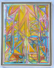 """Original Martin Cohen Abstract  Oil/Collage on Paper """"Yellow Landscape"""" 2005"""