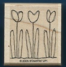 TULIP TRIO FLOWERS Drawn Design Fun Card Stampin' Up! 2005 Wood RUBBER STAMP
