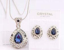 Vintage Teardrop Necklace Earrings SET SAPPHIRE BLUE Swarovski Crystal LUXURY