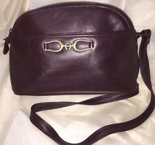 ~ ETIENNE AIGNER Cross Body Bag Chocolate Color Genuine Leather Purse  ~