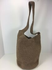 The Sak Women's Taupe Crochet Knit V-Front Bucket Shoulder Bag Purse