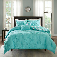 New Geometric Tufted Reversible Aqua Grey Comforter Shams 5 pcs Cal King Queen