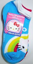 NEW 4 PAIRS HELLO KITTY GIRLS BLUE WHITE ANKLE SOCKS SIZE 6-8 L34a