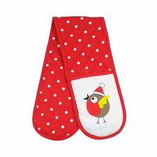 CHRISTMAS CARTOON ROBIN POLKA DOTS RED WHITE COTTON QUILTED DOUBLE OVEN GLOVES