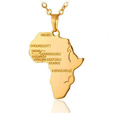 Unisex Africa Map Jewelry 18K Gold Plated Necklace Country Pendant Chain Chic